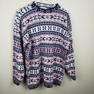 5/$25 Vintage Adele Pink and Blue Sweater Size L
